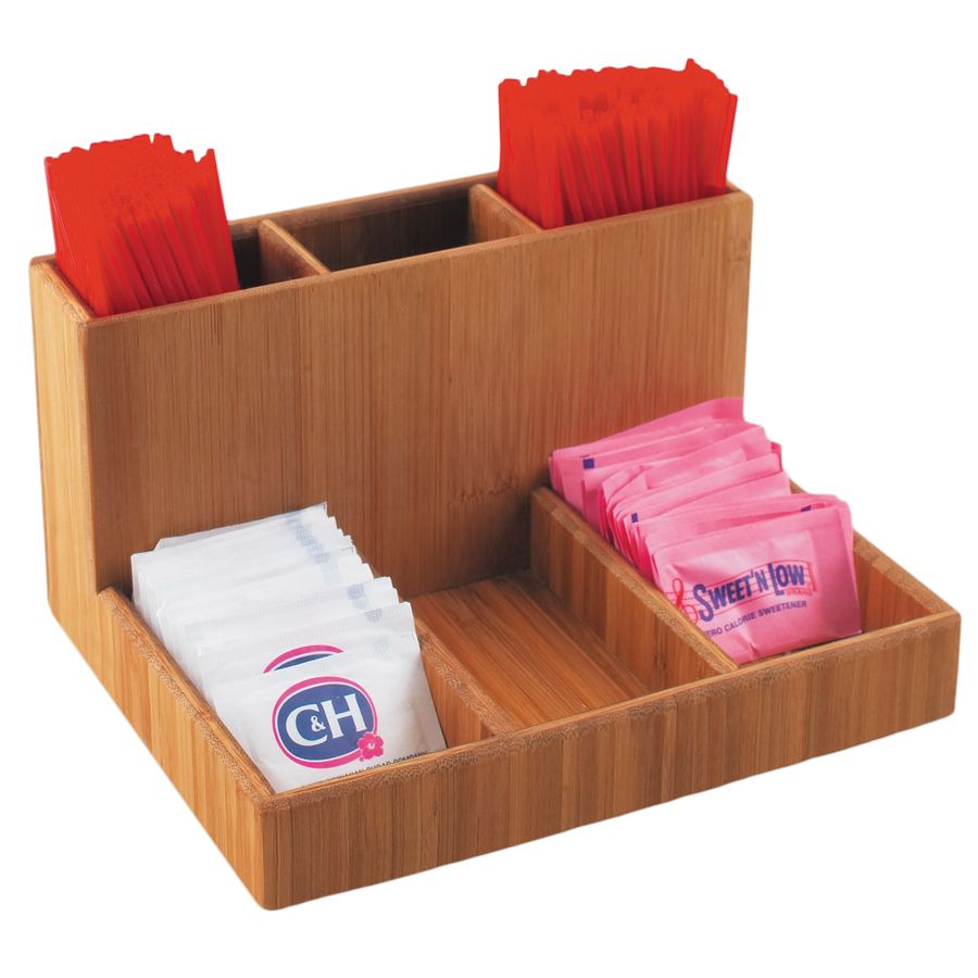 "Cal-Mil 796-60 Bamboo 9 x 6.13"" Sugar Packet / Stick Holder"