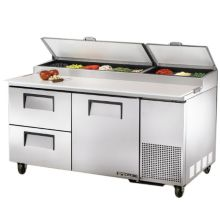 True® TPP-67D-2 S/S 1-Door 2-Drawer Pizza Prep Table