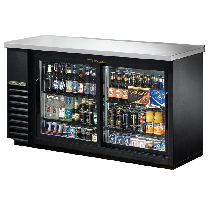 True TBB-24-60G-SD-LD Black Glass Door Back Bar Cooler f/ (72) 6-Packs