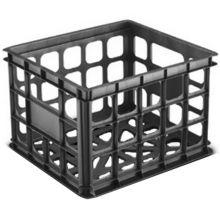 "Sterilite 16929006 Black 15-1/4"" x 13-3/4"" x 10-1/2"" Storage Crate"