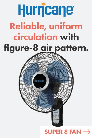 Hurricane Super 8 Oscillating Digital Wall Mount Fan